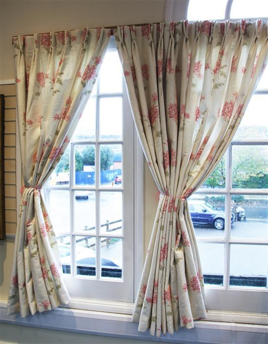 Two pairs of Bennison full length curtains, W.11ft H.7ft (2 pairs) W.5ft 9in. H.7ft (2 pairs)