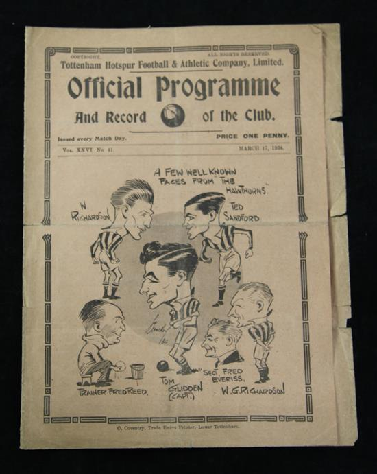 A collection of Tottenham Hotspur F.C., World Championship Jules Rimet Cup and other football programmes,