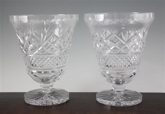 A pair of modern cut glass pedestal vases, height 26cm (10.2in.)