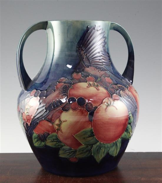 A large Moorcroft Finches pattern two handled baluster vase, 13in.