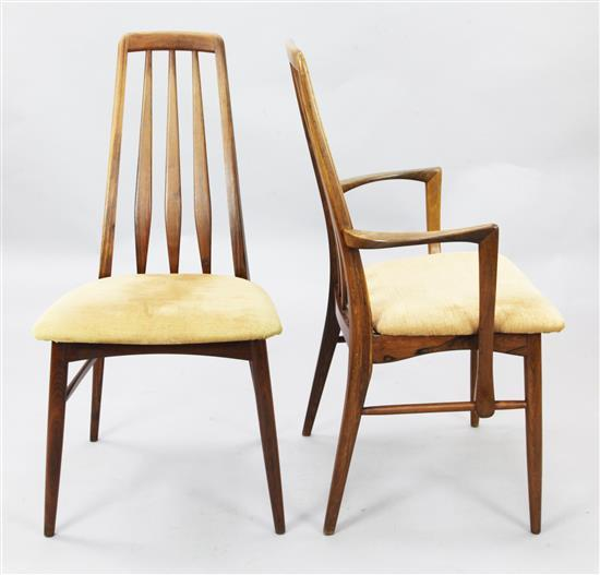 Koefoed Hornslet. A set of eight 1960's Danish rosewood 'Eva' pattern dining chairs, H.3ft 2in.