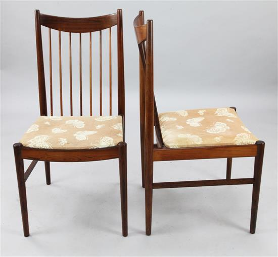 Helge Sibast. A set of six Danish 1960's rosewood dining chairs, H.3ft 2in.