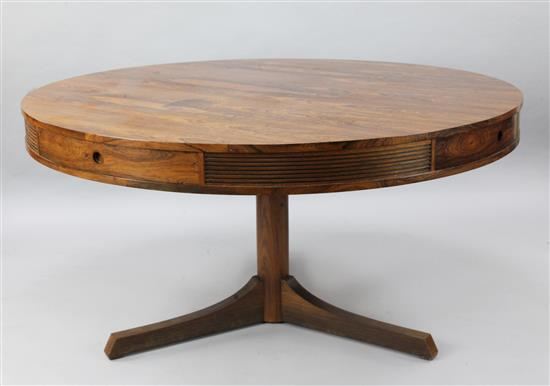 Robert Heritage for Archie Shine. A mid 20th century Danish rosewood drum top table, W.4ft 8in. H.2ft 5in.