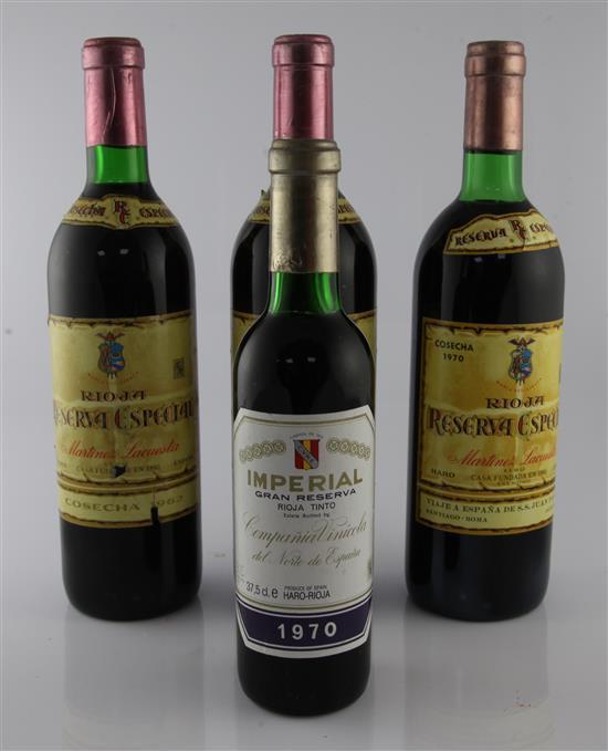 Martinez Lacuesta Reserva Rioja 1962 (2) 1970 (1) and Imperal Gran Reserva (half bottle) (1)