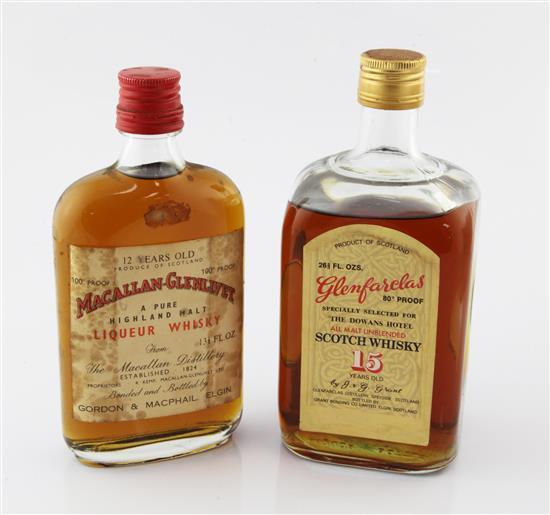 One bottle of Glenfarclas 15 year old Scotch whisky and a half bottle of Macallan Glenlivet,