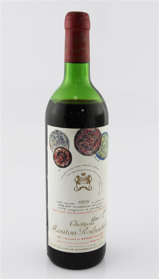 One bottle of Chateau Mouton Rothschild, 1978,