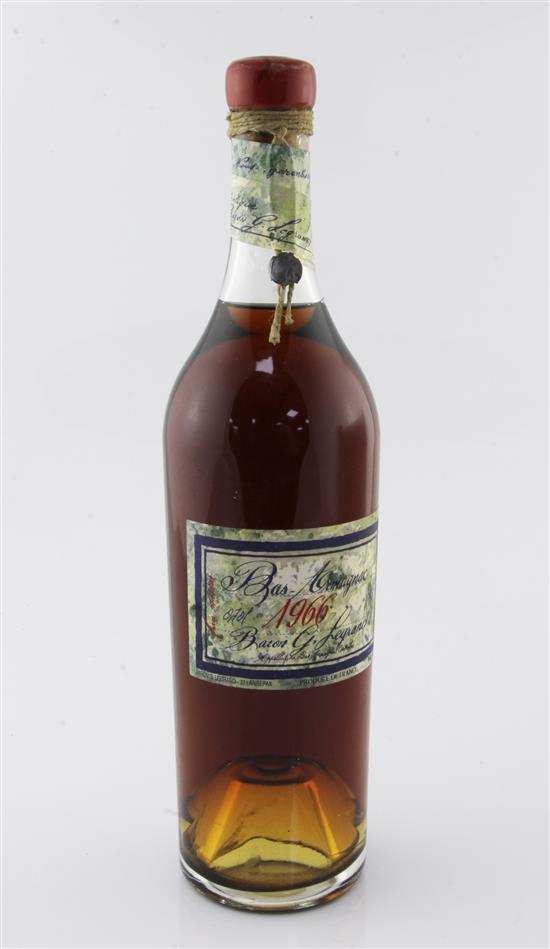 One bottle of Baron G. Legrand Bas Armagnac, 1966,