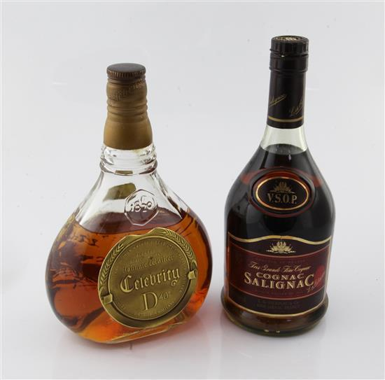One bottle of Cognac Salignac and one bottle of Johnnie Walker Celebrity whisky,