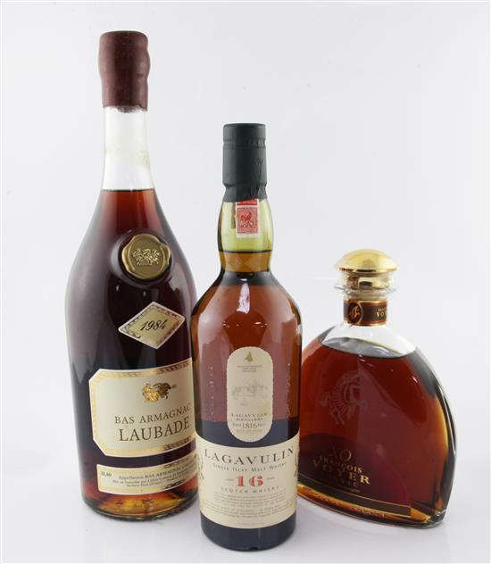 One bottle of Lagavulin 16 Years Islay malt whisky, one bottle of Laubade Bas Armagnac, 1984 & one bottle of Francois Voyer Cognac.