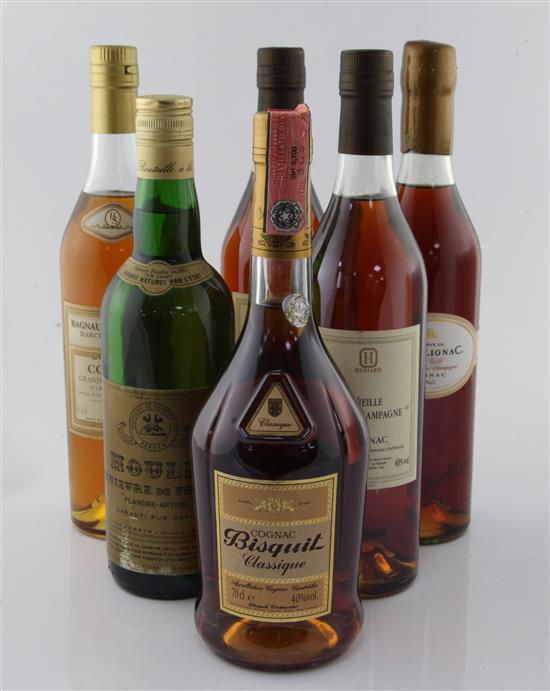 Five assorted bottles of Cognac including Ragnaud Sabourin Grand Champagne Cognac and a bottle of Houlle Genievre de France.