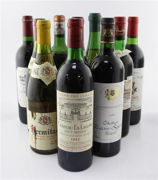 Eight bottles of assorted red wines and two white wines including Chateau Le Bon Pasteur, 1982 and Vouvray Marc Bredif, 1964,