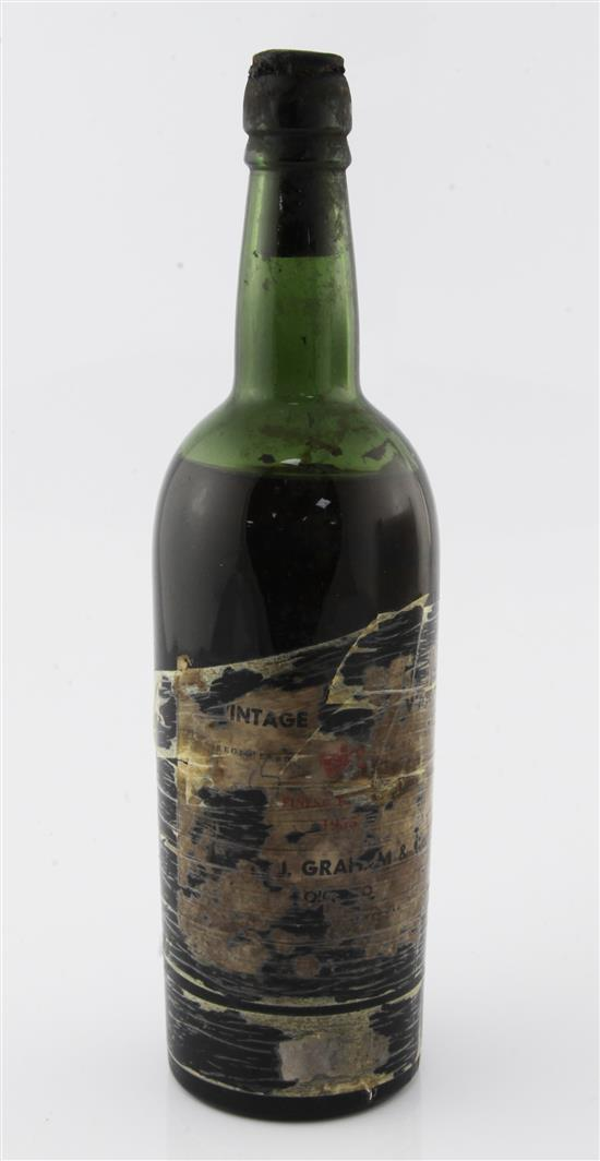 One bottle of W & J Graham & Co 1955 Vintage port,