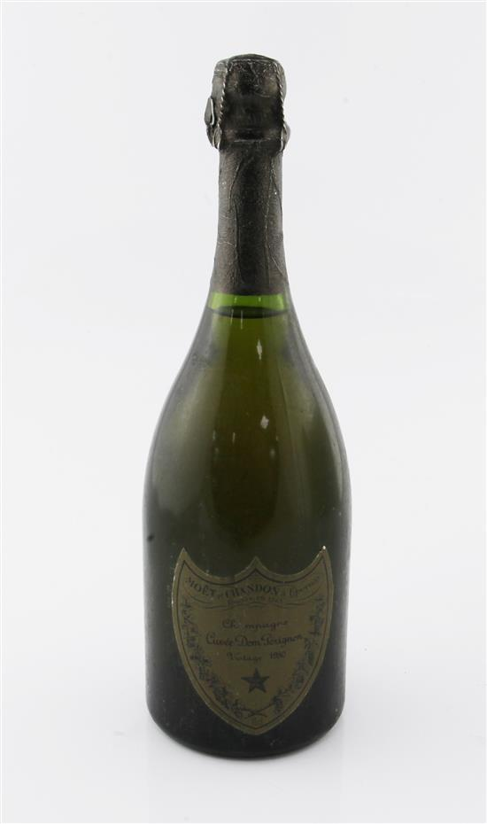 One bottle of Dom Perignon 1980 Vintage Champagne.