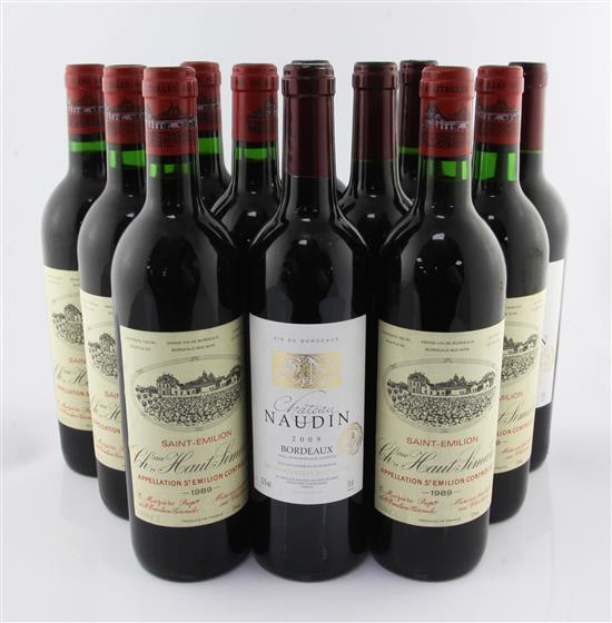Seven bottles of Chateau Haut Simard 1989, St. Emilion and five bottles of Chateau Naudin 2009,