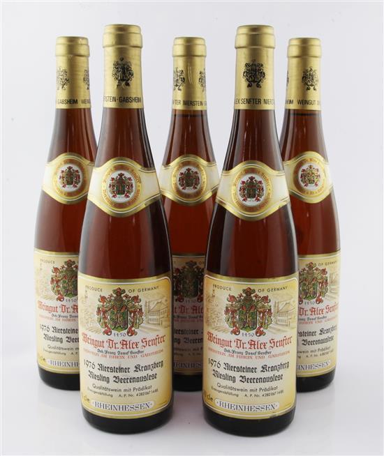 Five bottles of Dr Alex Senfter Niersteiner Kranzberg Riesling Beerenauslese 1976,