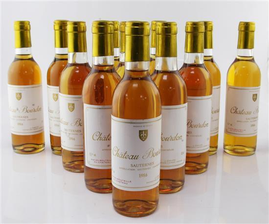 Twelve half bottles of Chateau Bourdon Sauternes 1986,
