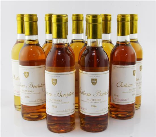 Eleven half bottles of Chateau Bourdon Sauternes 1986,
