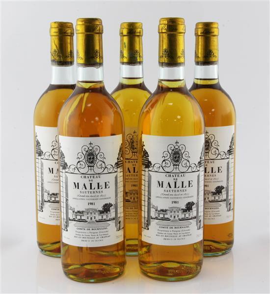 Five bottles of Chateau de Malle Grand Cru Classe 1981, Sauternes,