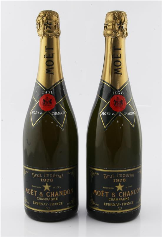 Two bottles of Moet & Chandon Brut Imperial Champagne 1978.