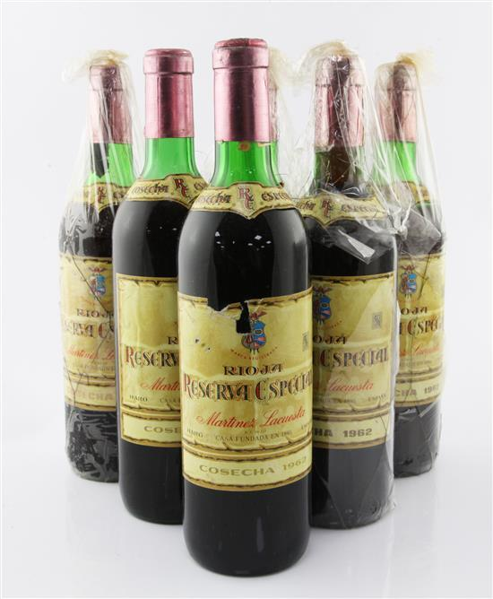 Six bottles of Martinez Lacuesta Reserva Rioja 1962,