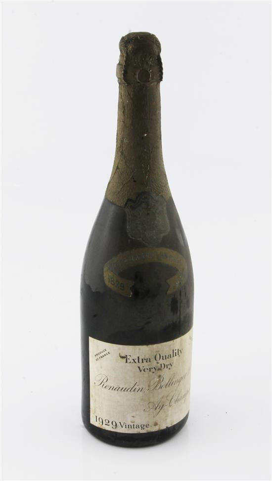 One bottle of Renaudin Bollinger & Co. Centenary 1929 Vintage Champagne,