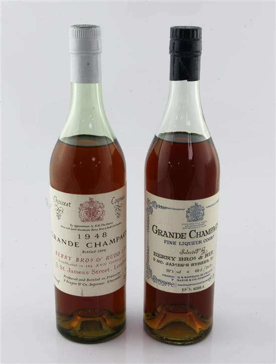 One bottle of Berry Bros. & Rudd 1948 Grande Champagne Choicest Cognac, bottled 1976 & one other cognac.