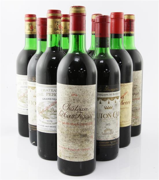 Ten assorted bottles of red Bordeaux wines including Chateau Larose Perganson 1976(3) and Chateau La Tour Figeac 1976,(3).