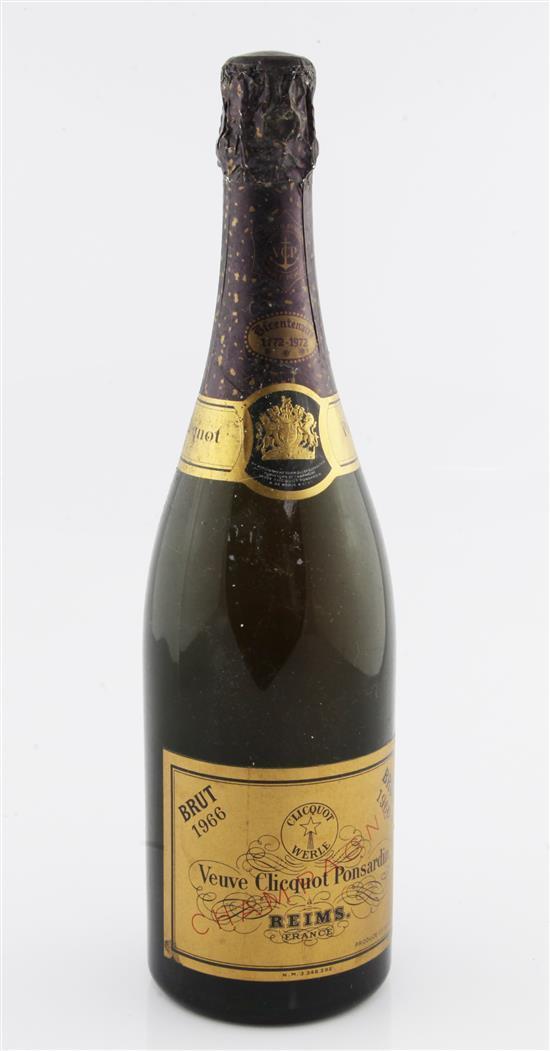 One bottle of Veuve Cliquot Ponsardin Brut 1966 Champagne.