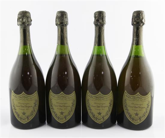 Four bottles of Dom Perignon 1961 Vintage Champagne.