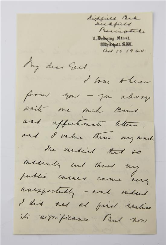 Chamberlain, Neville (1869- 9th Nov.1940) - Manuscript letter,