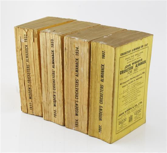 Wisden, John - Wisden's Cricketer's Almanack, for the years 1932-34 and 1937