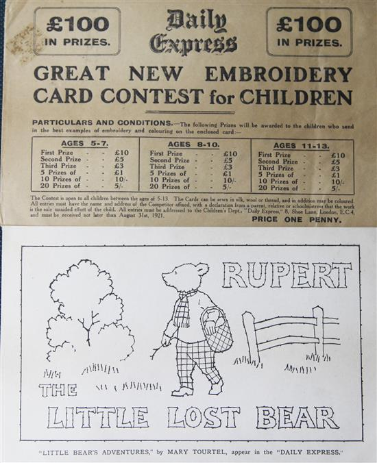 A rare 1921 Rupert embroidery card