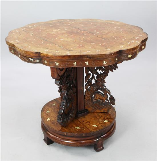 A Chinese ivory inlaid pen-work hardwood centre table, late 19th century, width 90cm, splits