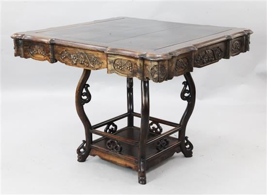 A Chinese rosewood (hongmu) square centre table, late 19th century, width 96cm