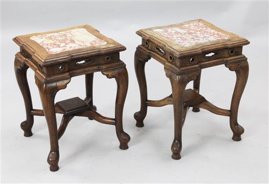 A pair of Chinese rosewood (hongmu) and marble topped stands, late 19th century, height 47cm