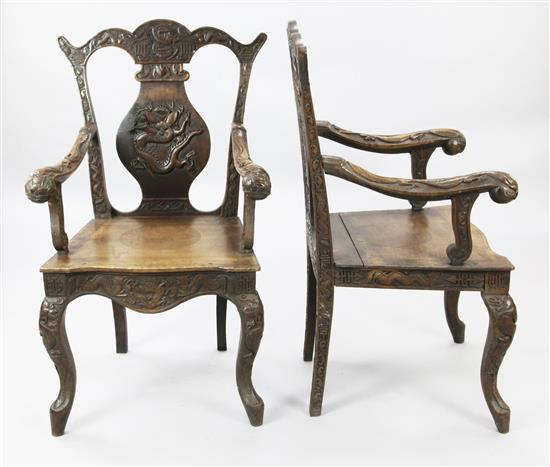 A pair of Burmese export hardwood elbow chairs, late 19th century,