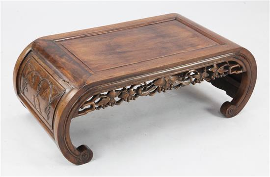 A Chinese huali wood and hongmu opium table, c.1900, length 90cm, width 39cm, height 33cm