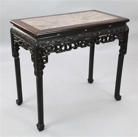 A Chinese rosewood (hongmu) and marble topped table, 19th century, length 92cm, depth 49.5cm, height 83cm