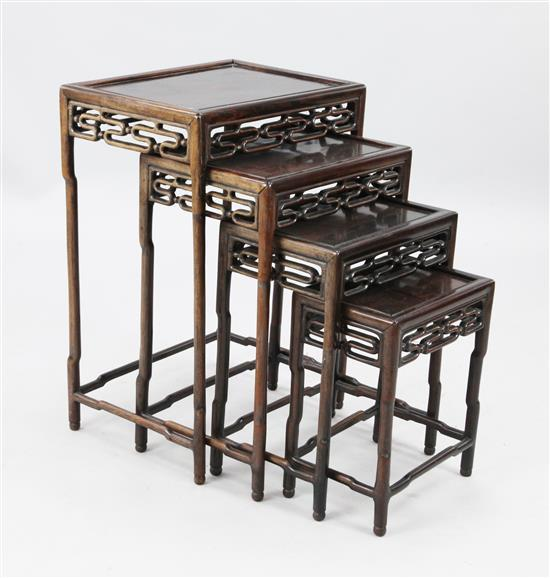 A nest of four Chinese rosewood (hongmu) tables, c.1900, largest height 72cm, width 50cm