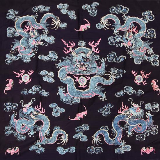 A Chinese black silk 'dragon' panel, late 19th/early 20th century, 87x 91cm