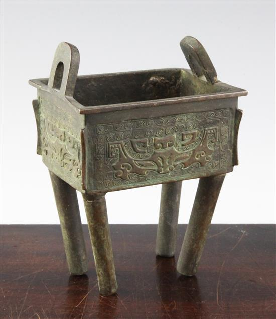 A Chinese bronze rectangular censer, Fang ding, 18th century, height 16.5cm, faults