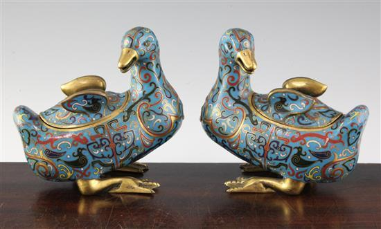A pair of Chinese gilt copper and cloisonné enamel 'duck' boxes and covers, 19th / 20th century, length 16.5cm