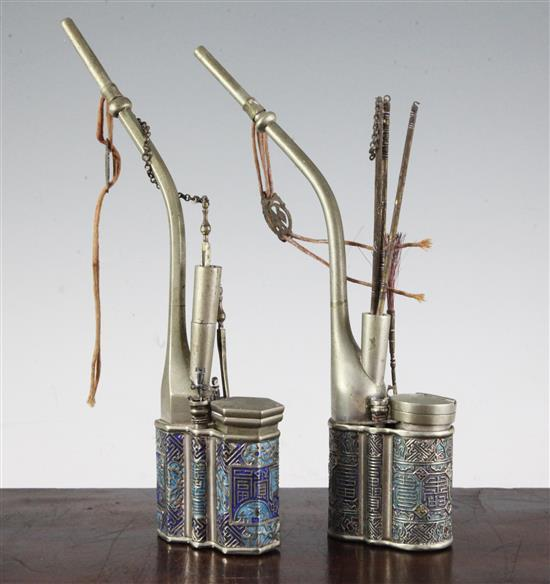 Two Chinese paktong and champlevé enamel waterpipes, c.1900, 26 and 27cm