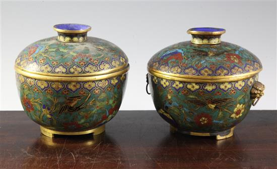 A pair of Chinese cloisonné enamel bowls and covers, first half 19th century, diameter 13.5cm, some losses
