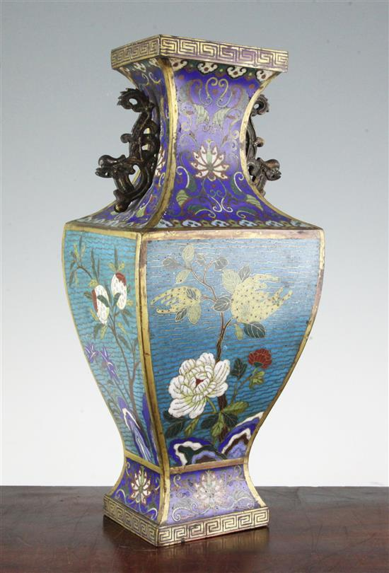 A Chinese cloisonné enamel vase, fanghu, early 19th century, 40.5cm