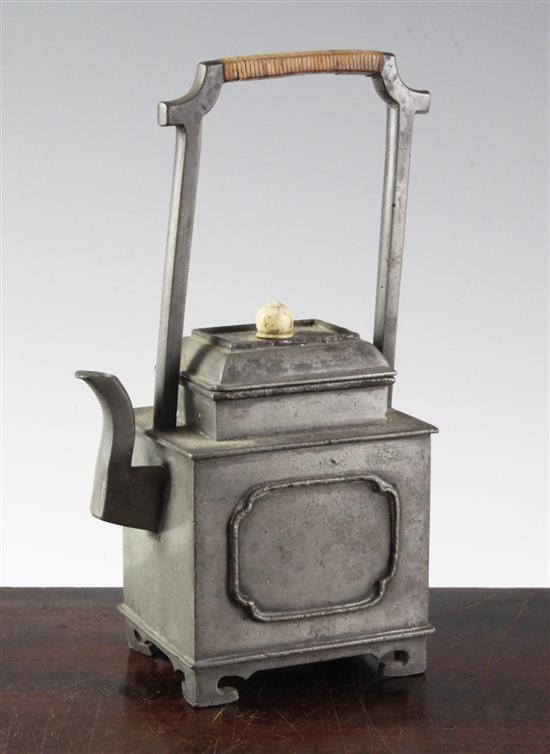 A Chinese pewter rectangular teapot, 19th century, height 21cm, faults