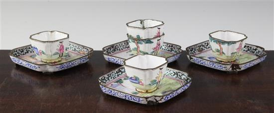 A set of five Canton enamel 'European subject' square cups and four trays, Qianlong period, trays 9.5cm, cups 4.5cm wide, damage (9)