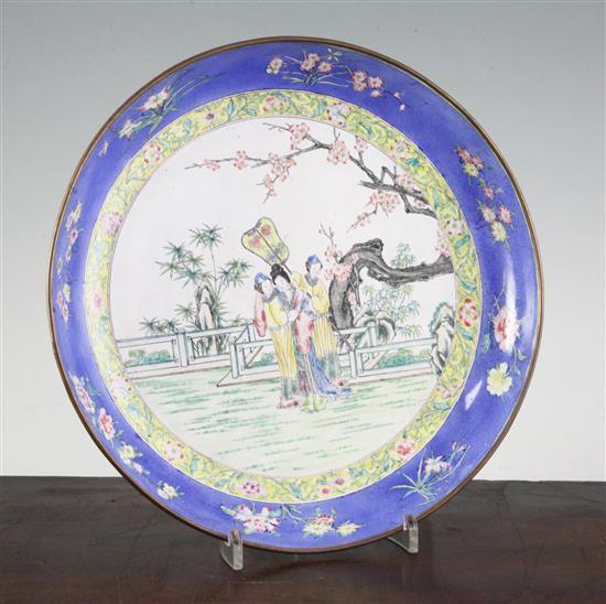 A Canton enamel dish, 19th century, 26cm