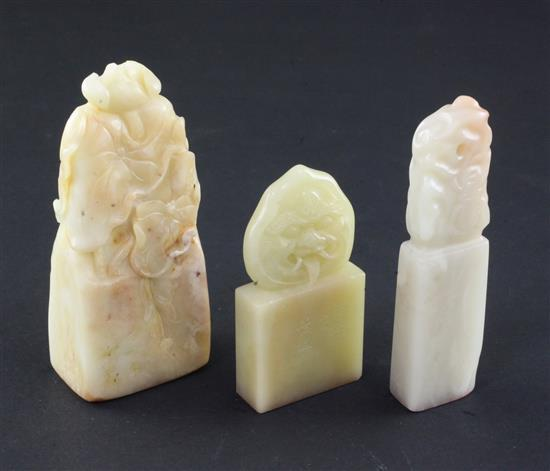 Three Chinese Baitan stone seals, 8.8 x 2.3 x 1cm