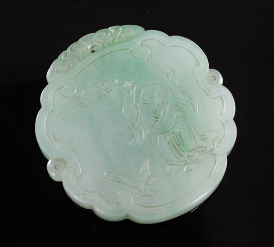 A good Chinese jadeite plaque, 19th century, 5.2cm